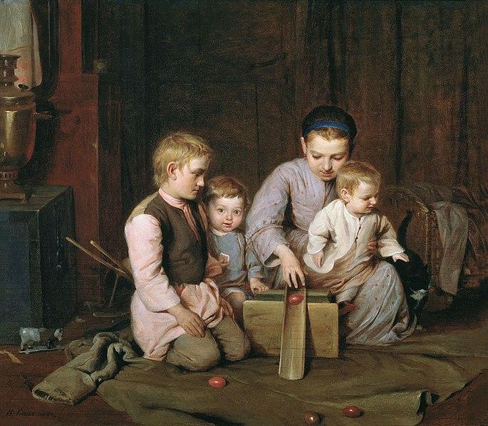 Микола Кошеле «Діти, що катають великодні яйця», 1855
