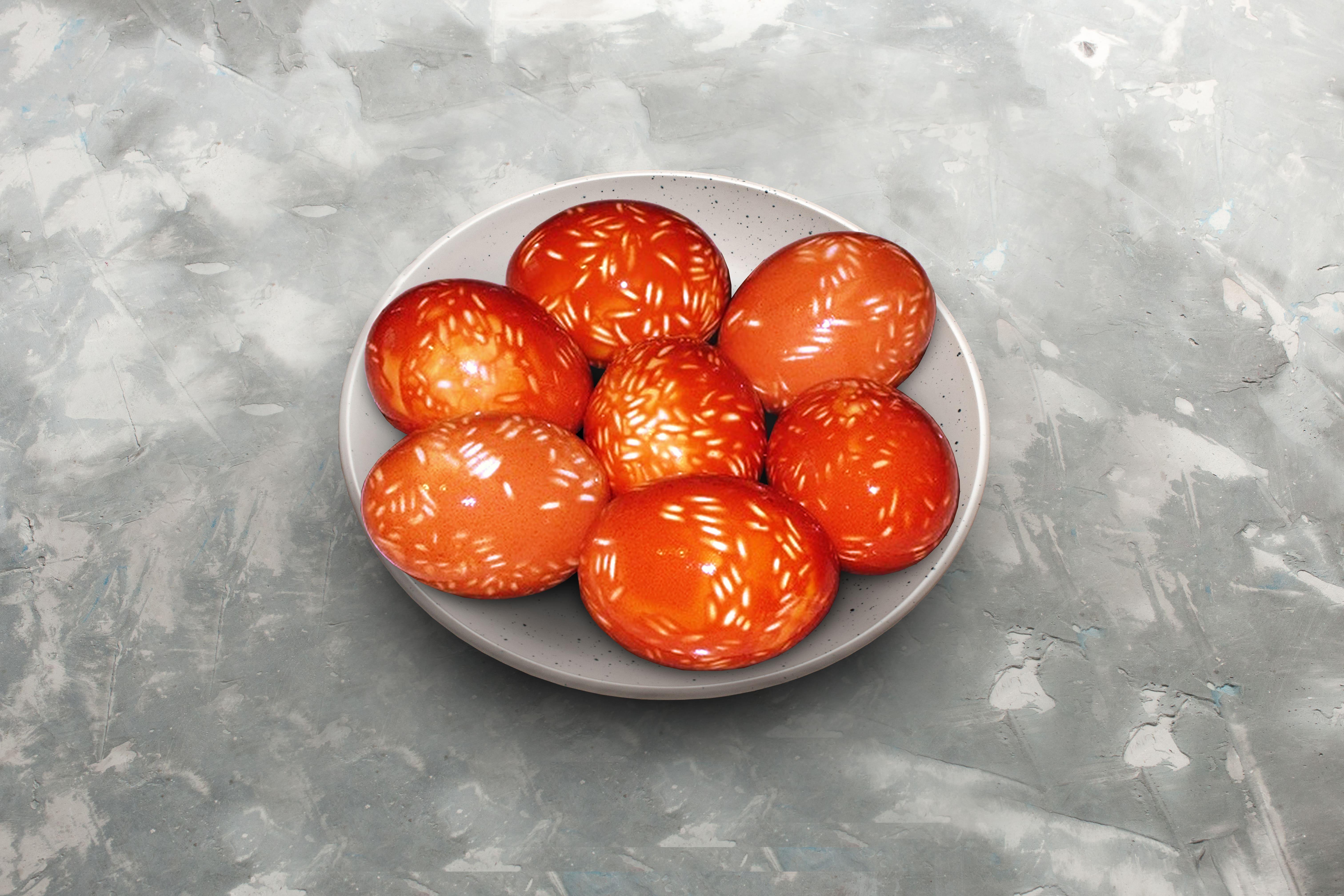 яйця в цибулевому лушпинні з рисом